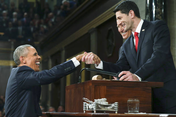 U.S. President Obama s welcomed by House Speaker Ryan prior to delivering final State of the Union address to a joint session of Congress in Washington