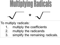 Multiplying Radicals. To multiply radicals: multiply the coefficients. multiply the radicands. simplify the remaining radicals.